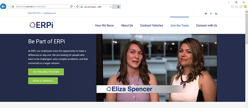Screenshot from ERPi recruiting video embedded in their website