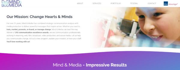 Screenshot from Mind & Media's redesigned website